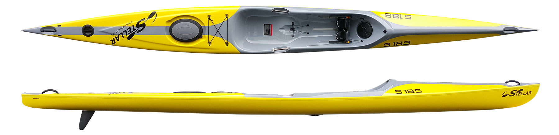 S18S:  The Stellar 18' Surf Ski (S18S) is an entry level surf ski with great top end speed from the S18R hull design, along with the stability that you have come to associate with a Stellar. With 2 dry storage compartments, the S18S is not only a Surf Ski, but also a capable touring kayak. We have added cockpit carry handles to make maneuvering this boat on land as easy as it is on the water! As a standard feature, the S18S is outfitted to accept a kick-up rudder for those who paddle in shallow areas. The S18S also meets the specifications for the USCA Fast Sea Kayak division if you wish to race.