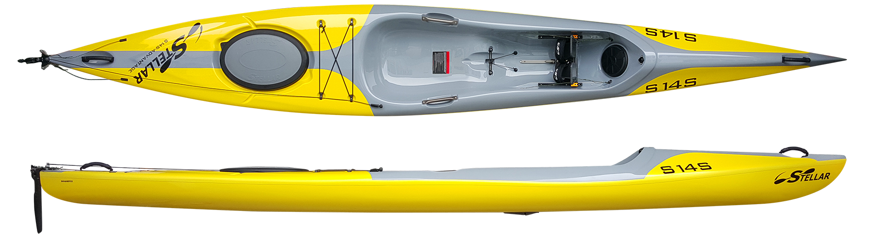 S14S: The Stellar 14' Surf Ski (S14S) is a recreational sit-on-top kayak that makes entry and exit a breeze by eliminating the need to squeeze in and out of a cockpit. The steering system on the boat is very comfortable and responsive too, keeping you on track to where you want to go! Unlike any other boat of this length, the S14S has the speed of a much longer boat, but beginners can feel comfortable paddling it. Two water tight hatches allow for modest storage for day tripping and overnight adventures. Its short length and light weight make it ideal for those who want a high performance boat that is easy to carry, car-top, and store.