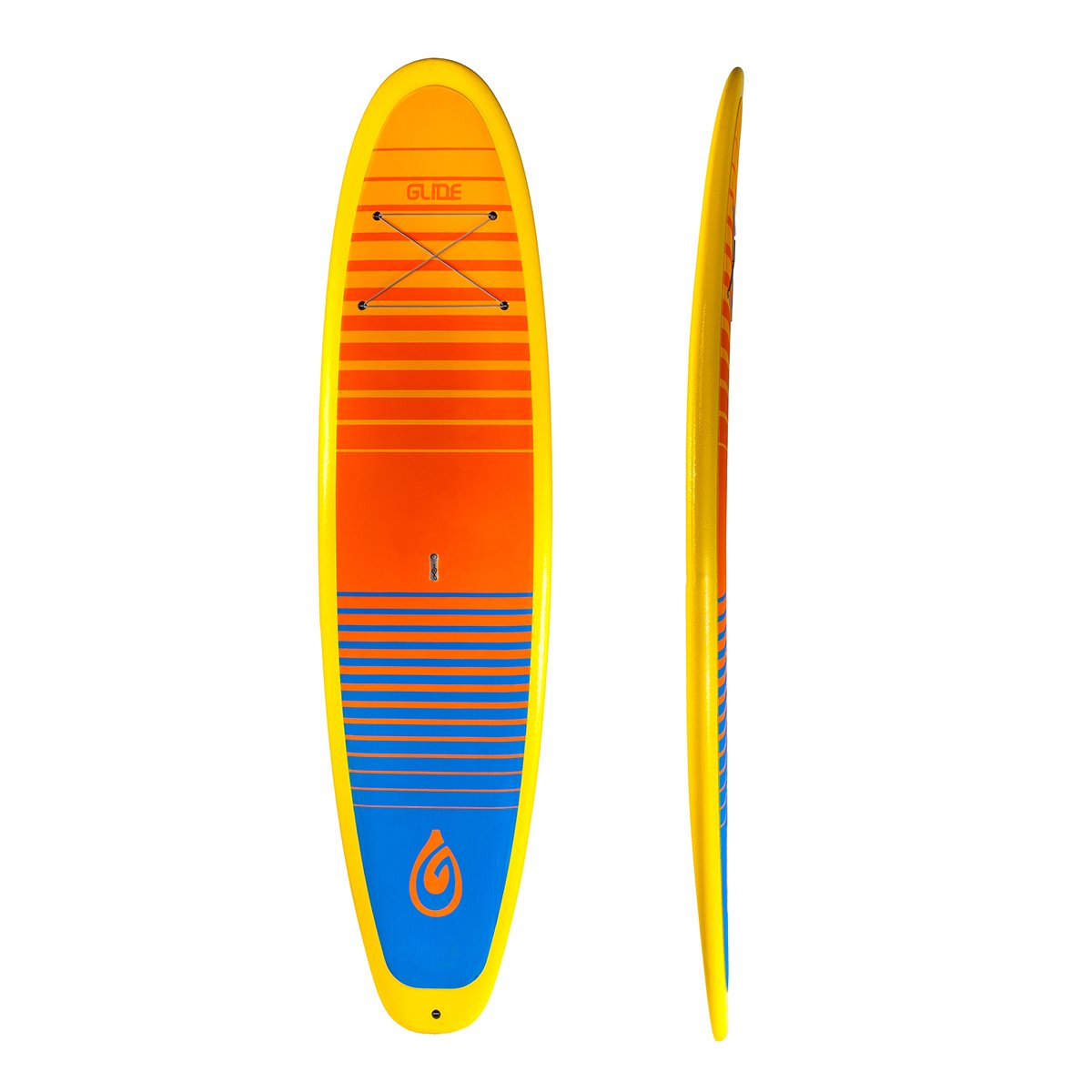 Retro:  11'. The Retro is Glide's take on the classic surf board design. Cruise your local lake in style. The Retro is also a capable whitewater and ocean surf board.  Some things never go out of style. Glide had to pay homage to the classic surf shapes used by so many from the Waikiki Beach Boys, to present day SUP pioneers. Take this board to the lake for a day of fun, run up to class II whitewater or take this board to the ocean where it's classic design will excel.