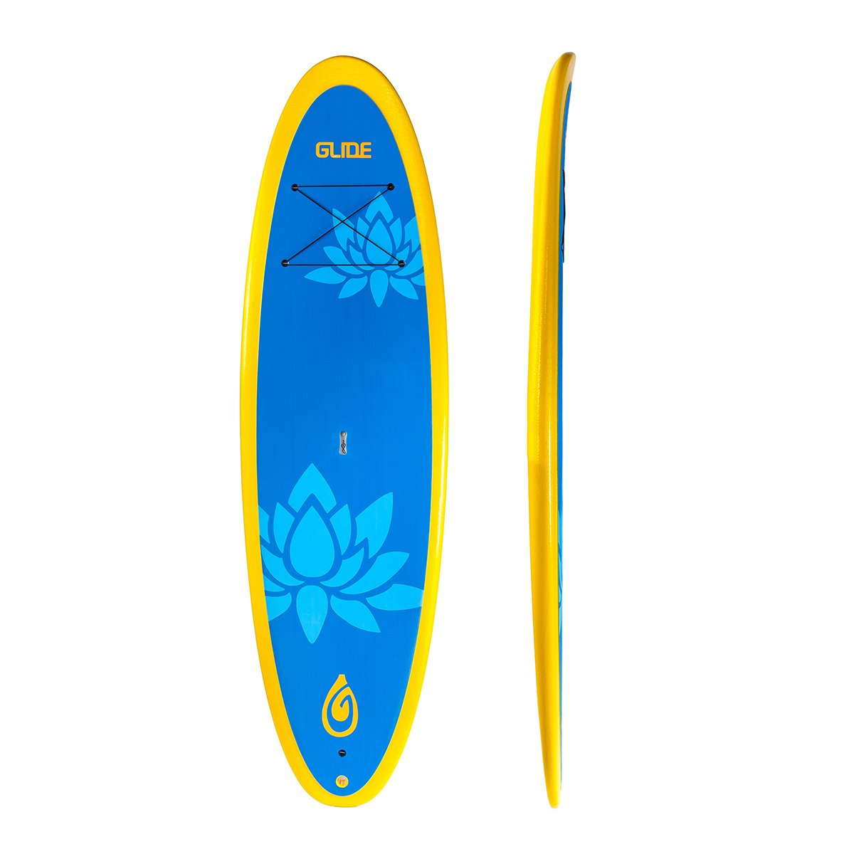 Lotus:  10'. Glide partnered with some of the pioneers in SUP Yoga to create the premier SUP Yoga center to develop our Lotus Yoga and Fitness Board. The instructors have tried every SUP Yoga board on the market and none of them quite worked for their demanding Yoga sessions. The board had to be a stable and comfortable platform for Yoga or Crossfit style exercises but it also had to paddle well in flat water as well as the open ocean. It had to be durable but it also had to be light weight. So many demands! After almost 1 year in development and testing Glide's Yoga board will become the standard for Yoga and Fitness boards. Designer Ken Driscoll was last seen doing a King Pigeon and Side Crane Pose on the Glide Lotus. We're pretty sure he's not coming back to the factory.