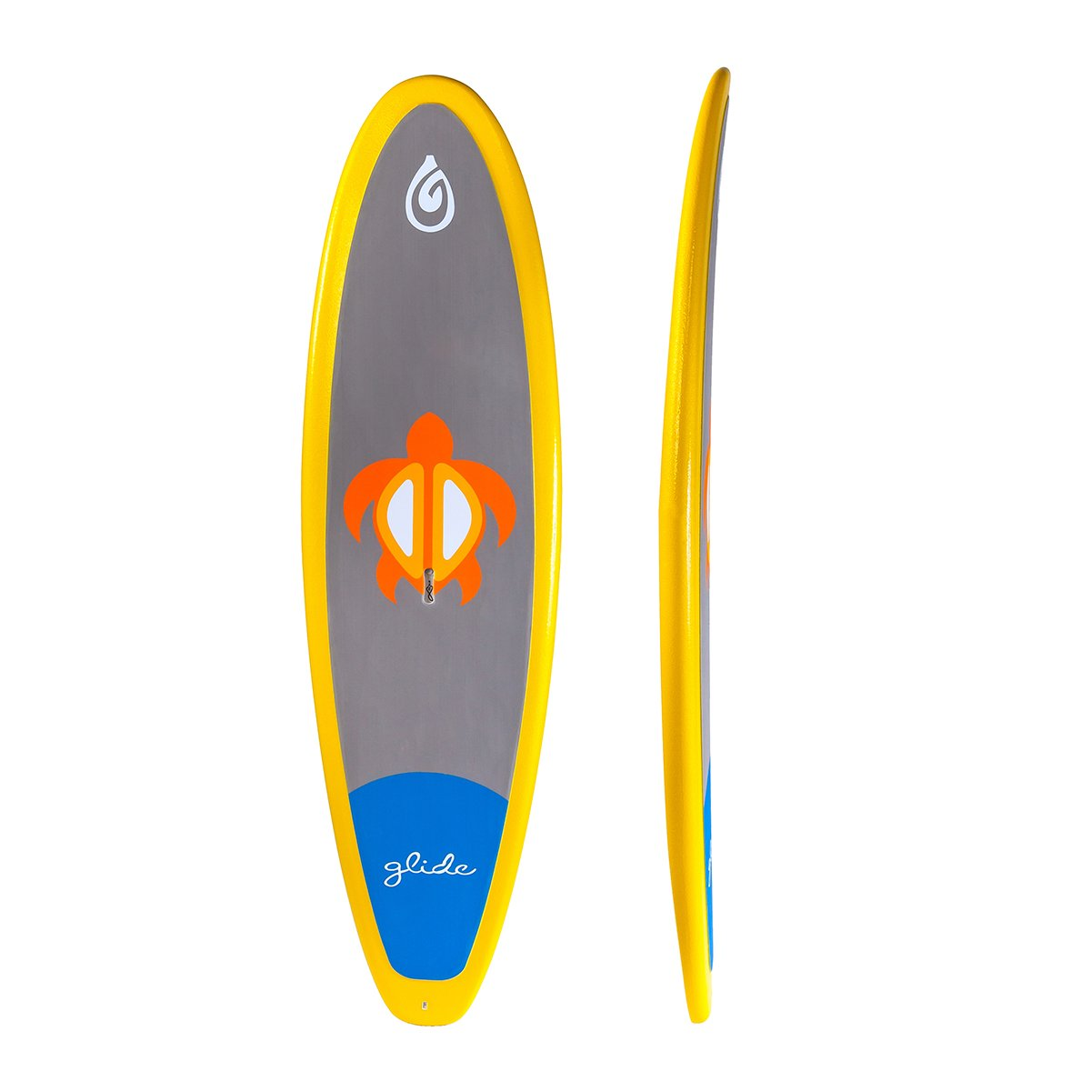 """Keiki: The Keiki is designed for the smallest of paddler to navigate the waterways. Coated in Glide's patent-pending GSS coating, this board ready for any abuse a little paddler can muster. At 8'4"""" x 28"""" x 18 lbs, the Keiki is a great board for paddlers up to 120 lbs and can be used in surf, flat-water and river play. The Keiki is the most durable SUP on the market and priced to be more affordable than competing boards."""