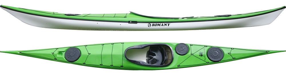 Romany Classic:  A manoeuvrable and direction stable kayak for the medium sized paddler. Designed for rough water and ease of handling in conditions. Its easy handling makes it the 1st choice for many coaches. The Romany Classic (formerly named Romany) is easily controlled in wind with a minimum of weather cocking even in strong winds.    In stock Romany Classic colors.