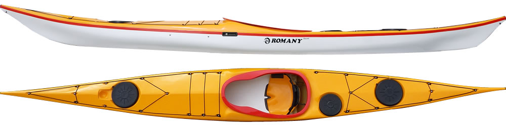 Romany Excel:  A manoeuvrable and stable kayak for the extra large paddler. Designed for rough water and ease of handling in conditions. Due to boxy rails this kayak will also be suitable for the paddler who wants more stability. An ideal kayak for the 16+ stones person (102+ kilos). The kayak has a larger and wider keyhole cockpit and offers extra leg room due to a raised area either side of the cockpit.  In stock Romany Excel colors.