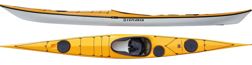 Explorer:  Award logo Designed for rough water and covering distances, the Explorer is our main expedition kayak and suits the medium sized paddler. Faster than the Romany family, manoeuvrable and direction stable. It has a large carrying capacity and has been used on a one-month expedition to Antarctica carrying all supplies with no support. The Explorer is fitted with the high performance glass seat, unless otherwise requested. The kayak has a low rear deck for easy rolling, a keyhole cockpit that gives excellent grip, control and allows quick exit if need be.  In stock Explorer colors.