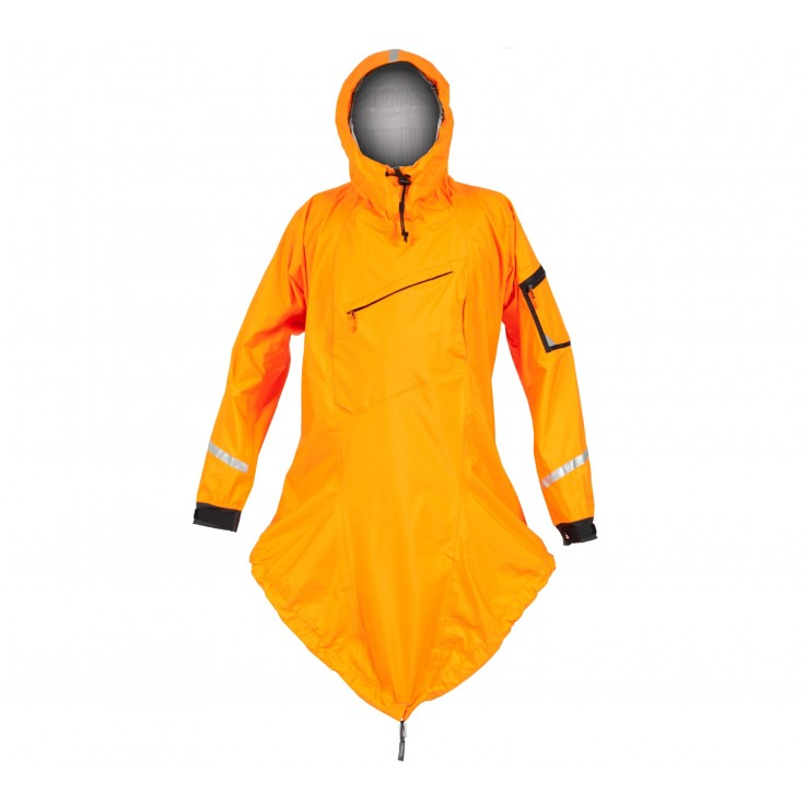 Storm Cag:   One-piece combination jacket and spray skirt cover is designed to be worn over existing clothing and PFD in inclement weather on or off the water. This piece also functions in an emergency when needed for extra insulation or when dealing with an injured paddler. When not in use, the Storm Cag is highly compressible and can be rolled into the hood for compact storage and tucked behind a seat back or into a day hatch. An essential.