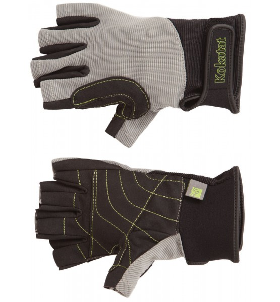 Kokatat Lightweight Glove:  Fingerless design with a nylon spandex upper offers sun protection for back of hands yet remains cool in the height of summer. Double Amara synthetic suede palm with reinforcement in high-wear areas will save your palms after many trips down your favorite river.