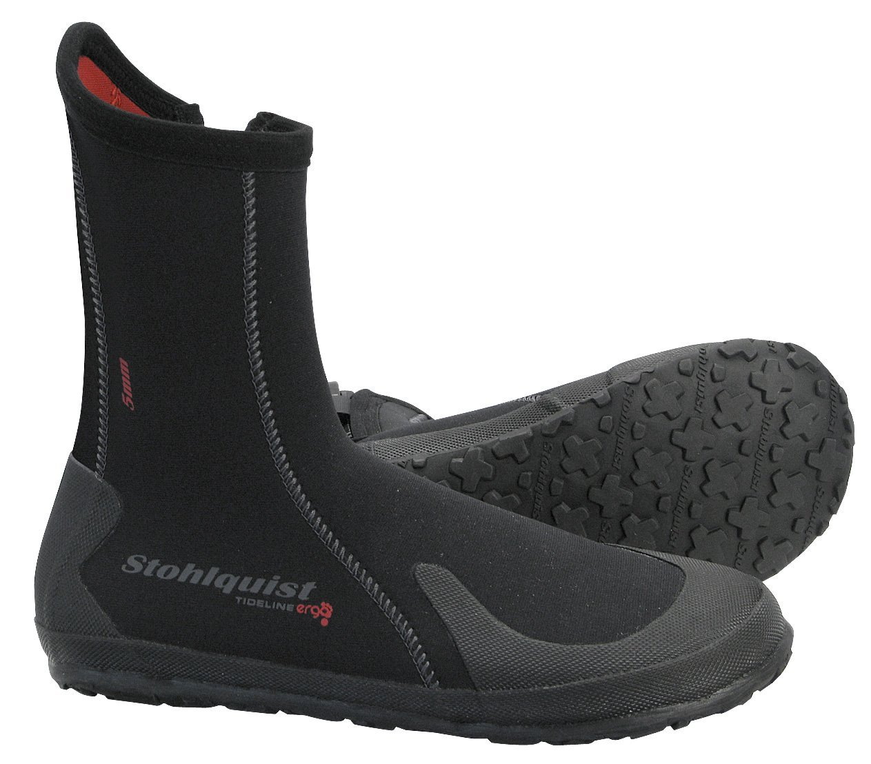 Stohlquist Tideline Boot: The Tideline features a 5mm neoprene upper, heavy-duty zipper, and gusseted zipper opening which helps to reduce water exchange. The thick rubber outsole features a proprietary Stohlquist tread pattern for outstanding traction.  The ergonomic shape, which echoes the natural shape of the foot, allows for the best possible fit and comfort in a paddling boot. The Ergo™ shape also helps to increase the overall warmth of the boot, by contouring the foot and minimizing water pockets.
