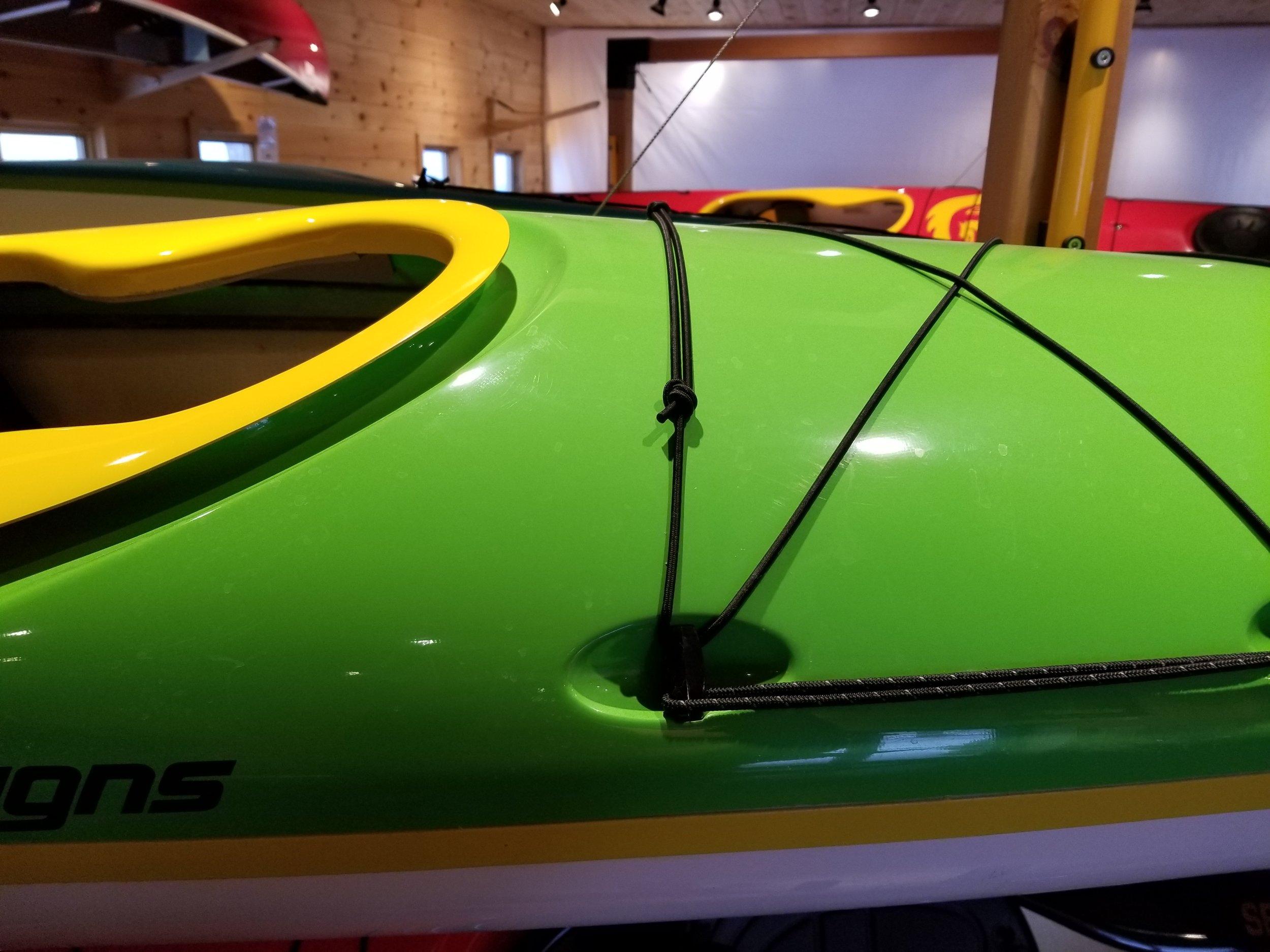 Standard layup. Green deck, white hull, yellow combing and seam.