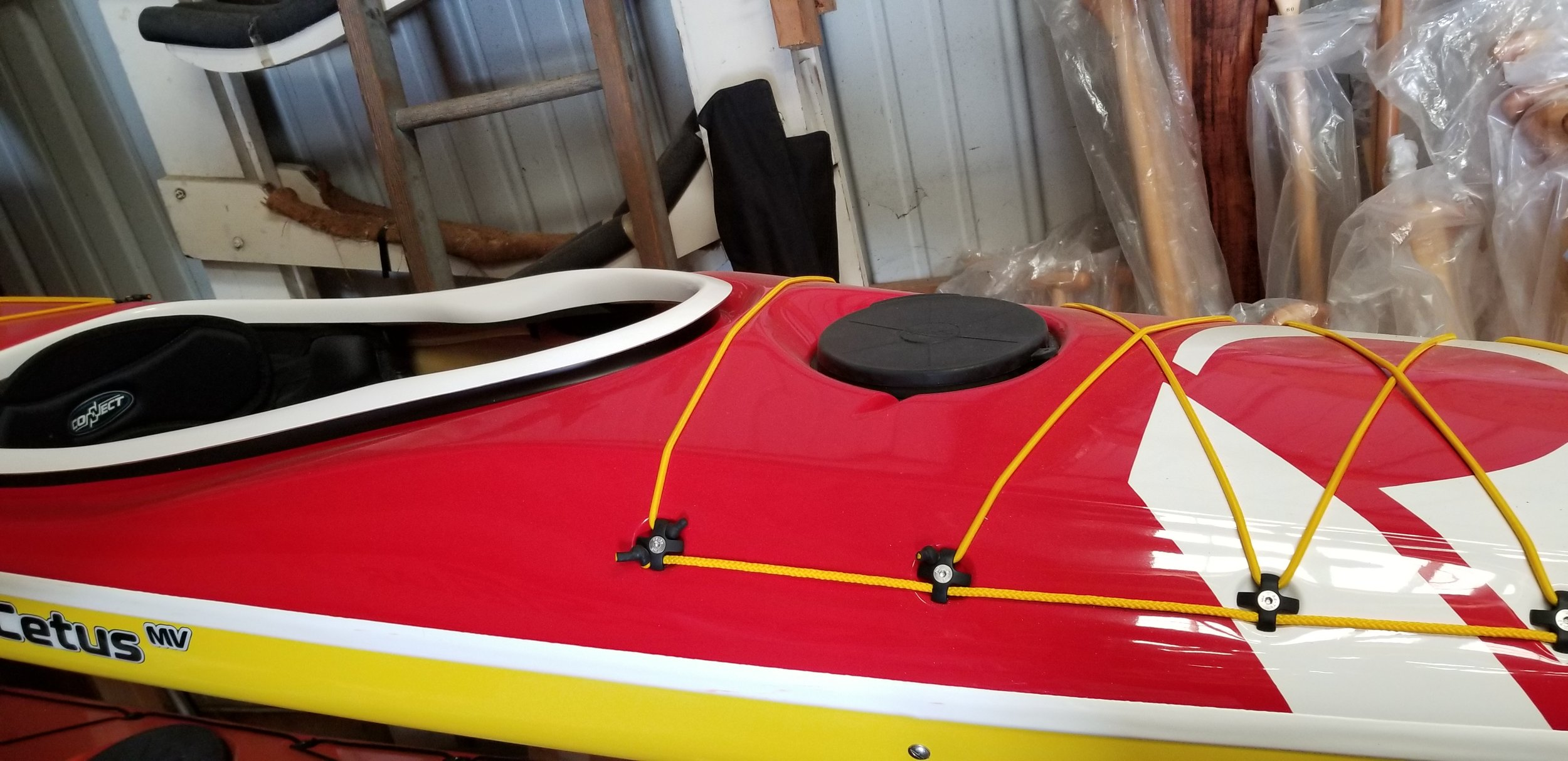 Standard Layup.  Red Deck, yellow hull, white combing, seam and logo.  2018