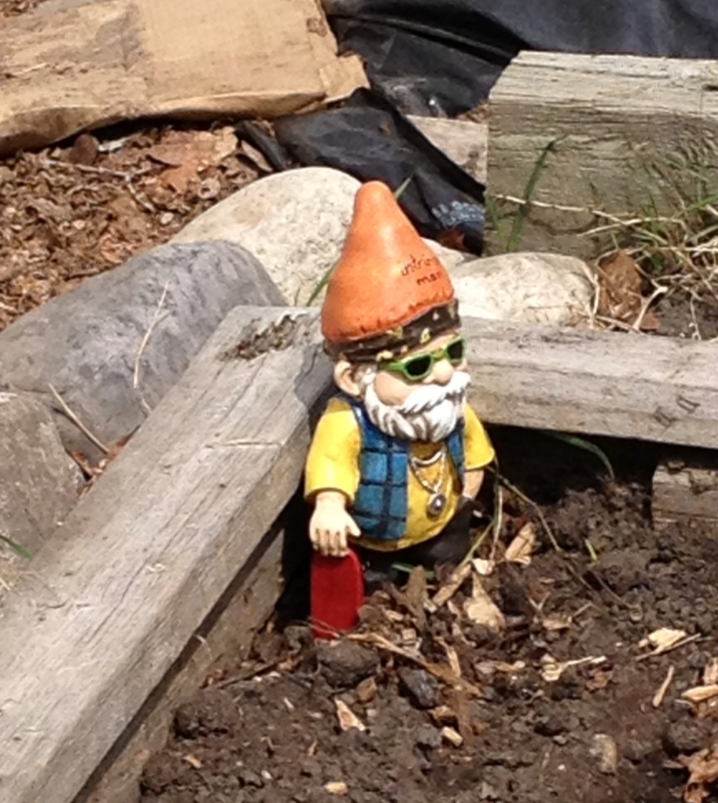 My garden gnome in the early season watching over the seeds