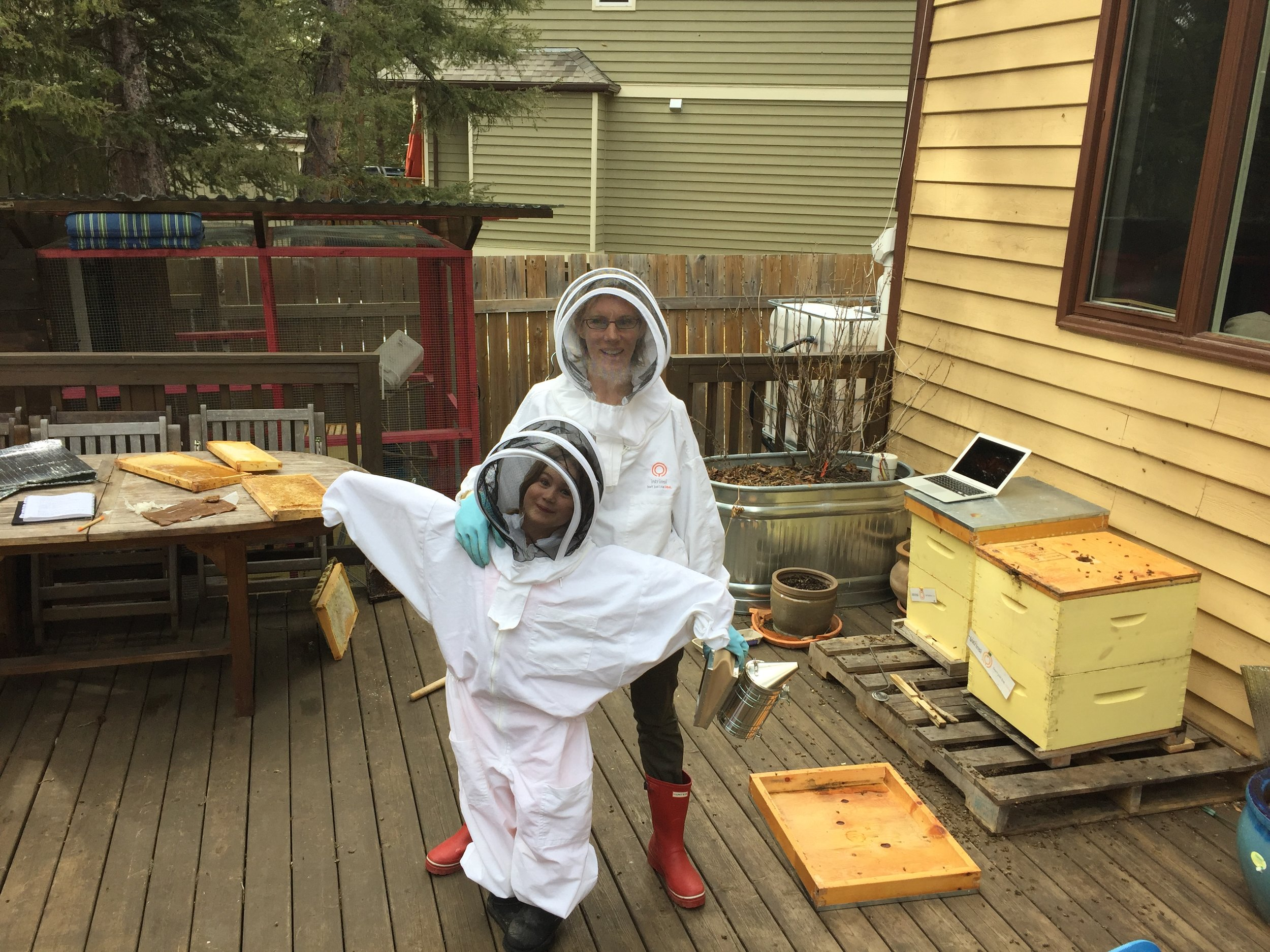6 year old Nina and I beekeeping on our back deck (this was before my bees decided to use our neighbours hot tub as their source of water and die en masse in the hot tub and prevent the hot tub owners from using their hot tub!). This was my first solo attempt at beekeeping, hence the computer open which was guiding me step by step from a blog post on what to do!