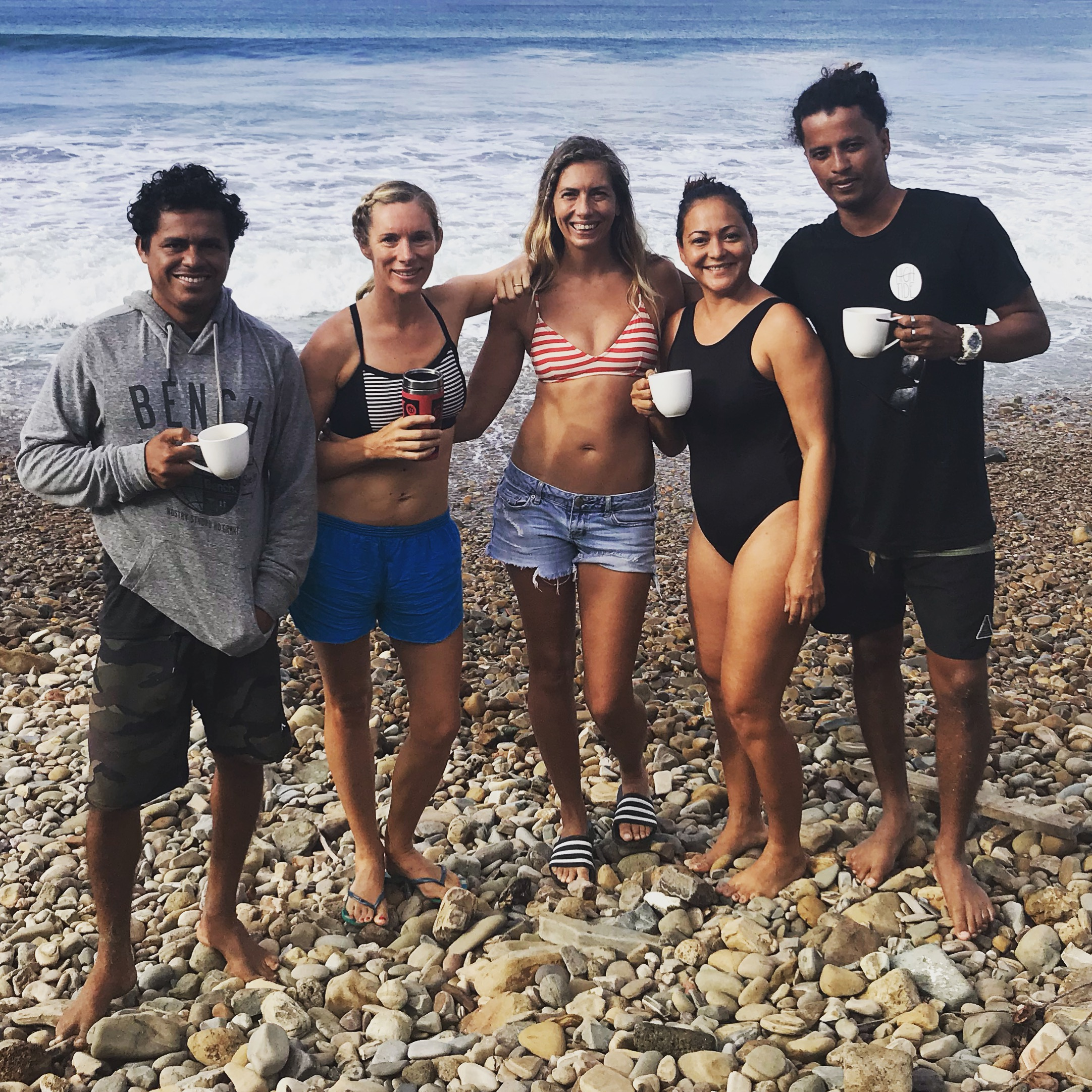 Morning coffee before surfing