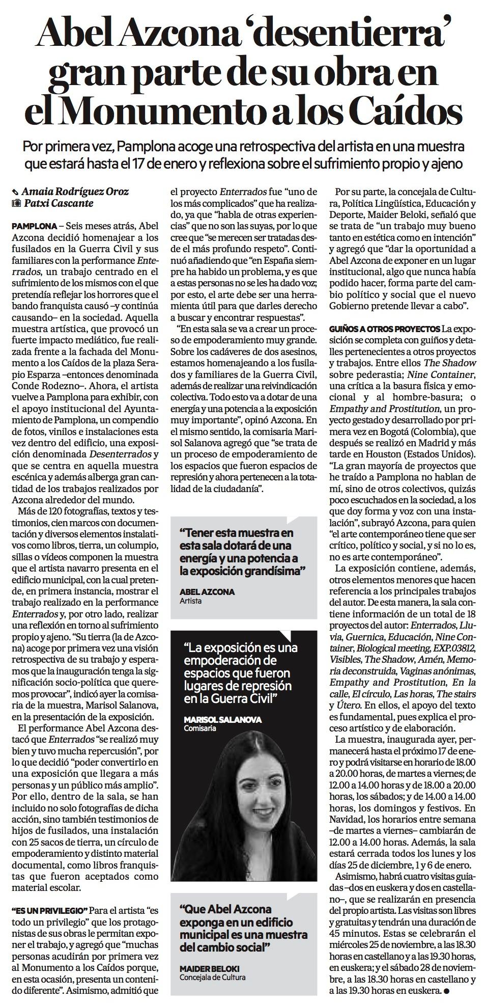 Diario de Noticias, 21 de Noviembre de 2017.Fragmento noticia en papel. PDF Completo. Noticia Digital.