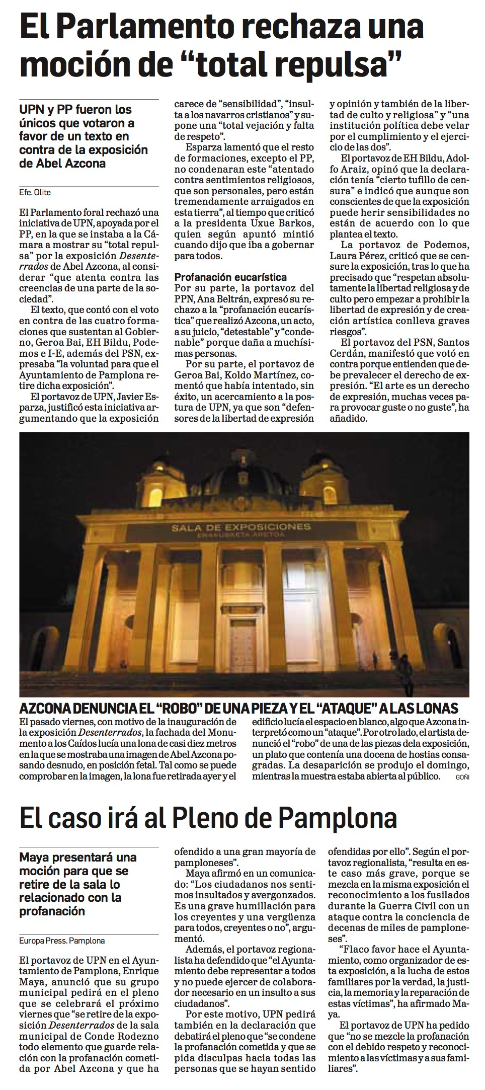 Martes, 24 de Noviembre de 2017. Diario de Navarra.