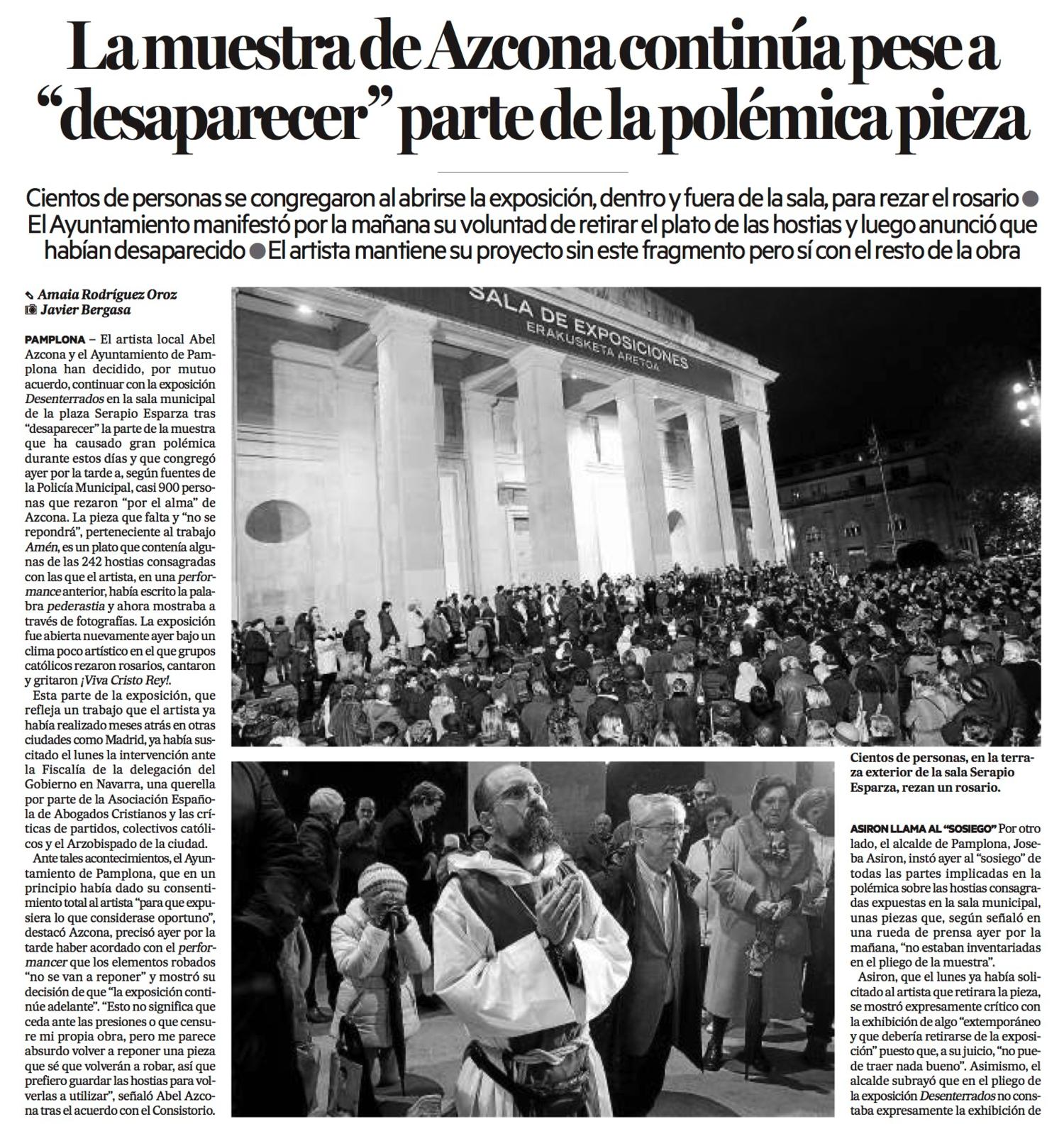 Miércoles, 25 de Noviembre de 2015. Diario de Noticias de Navarra.