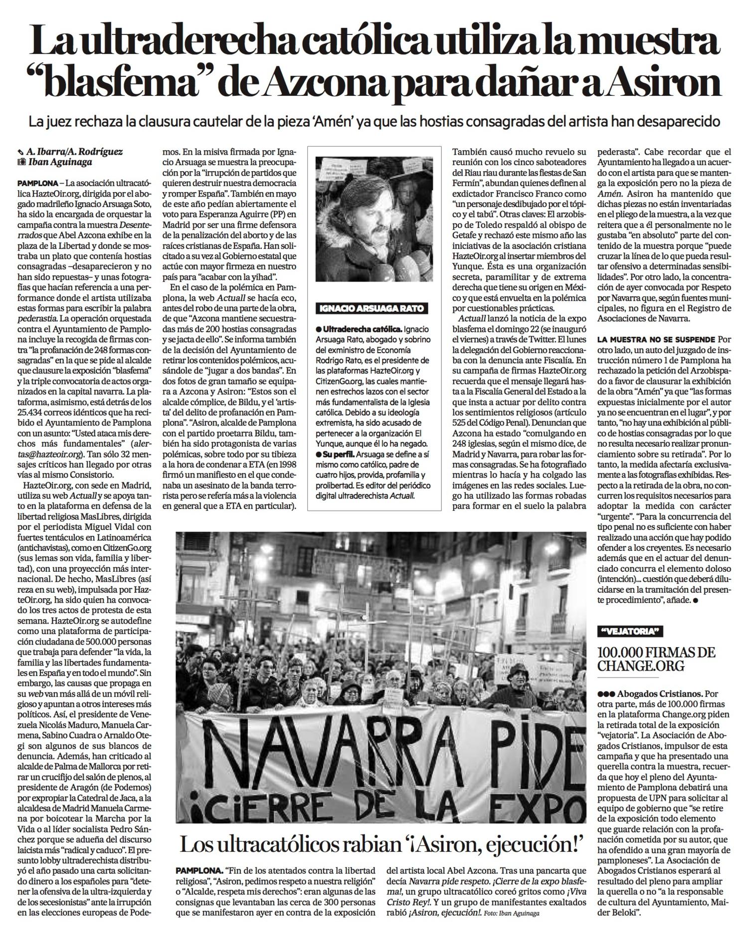 Viernes, 27 de Noviembre de 2015. Diario de Noticias de Navarra.