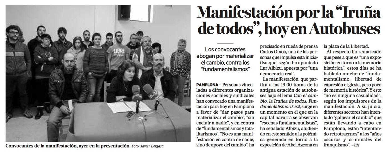 Martes, 1 de Diciembre dice 2015. Diario de Noticias de Navarra.