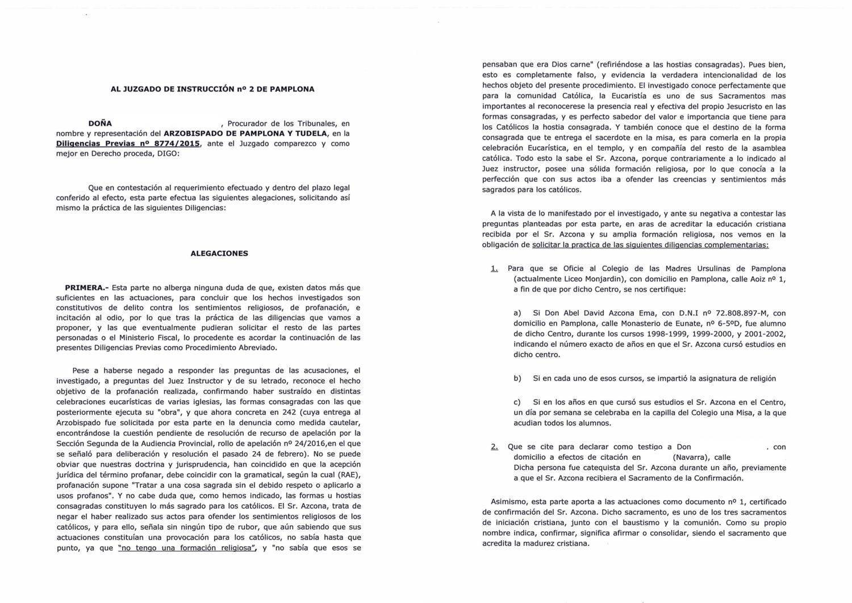 Nuevas alegaciones del 29 de Febrero de 2017 del  Arzobispado de Pamplona y Tudela  posteriores a la comparecencia del artista  Abel Azcona en el Palacio de Justicia. PDF completo .