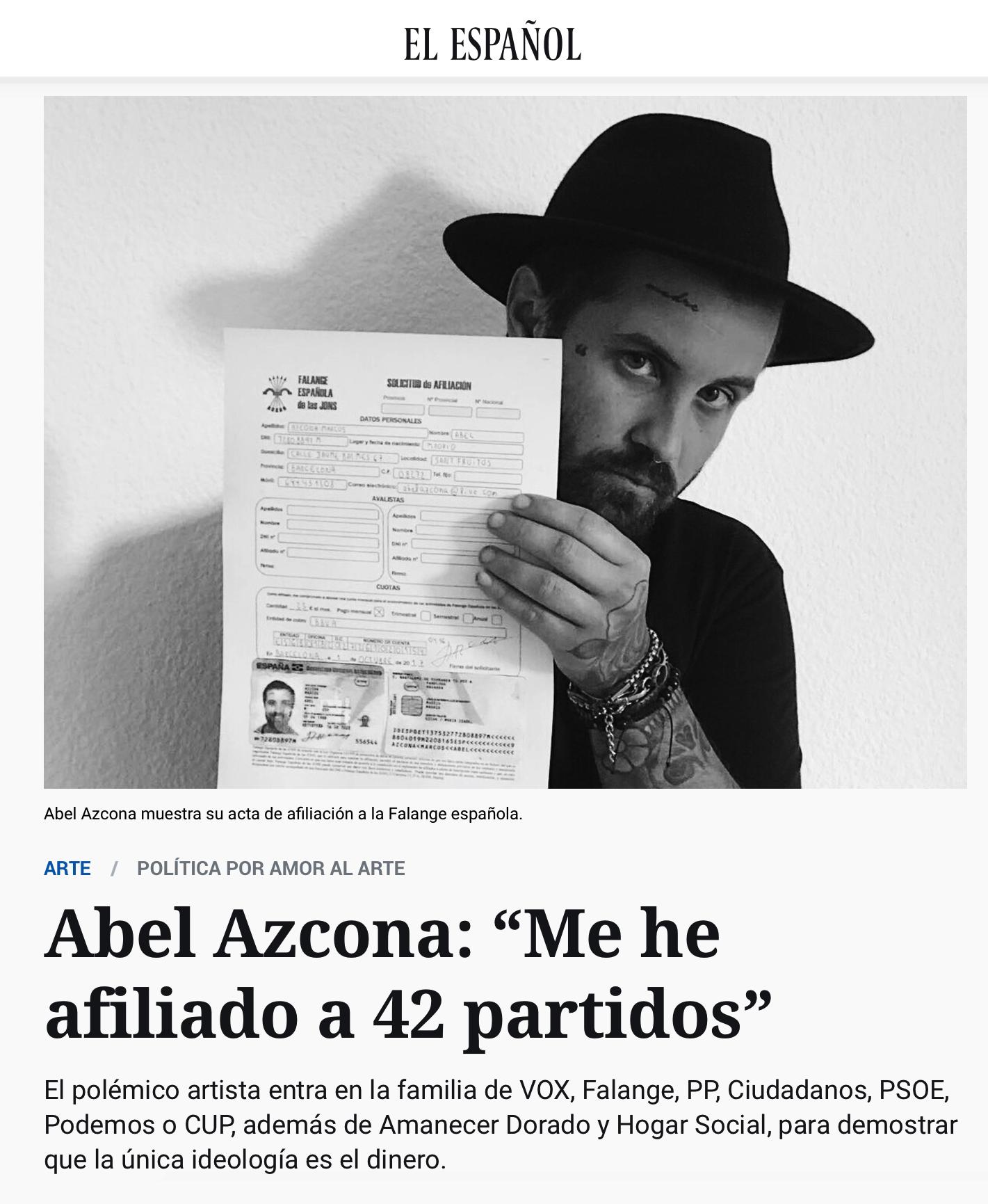 Portada de la noticia sobre el proyecto  Political (dis)order  en el periódico  El Español .