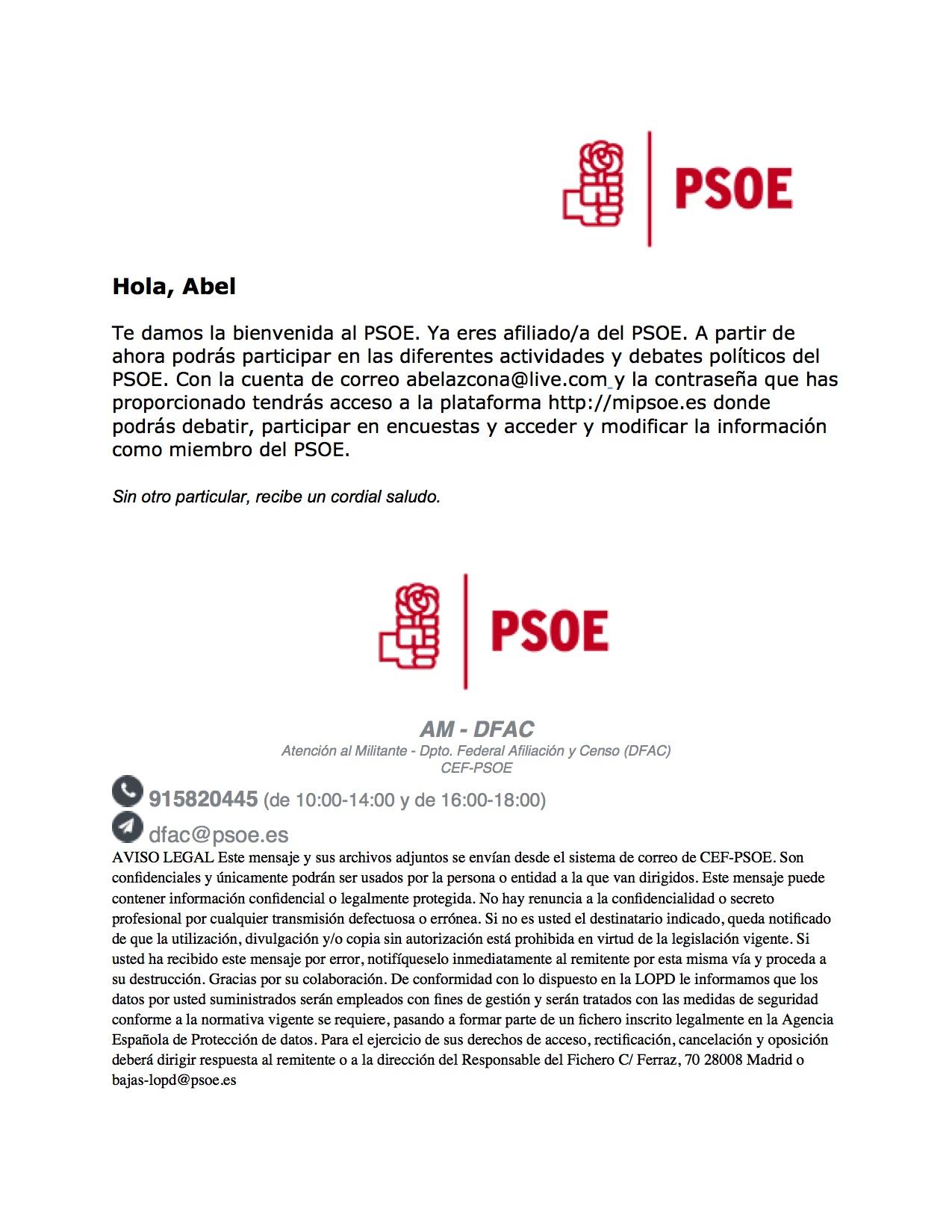 Carta de bienvenida a Abel Azcona del Partido Socialista.