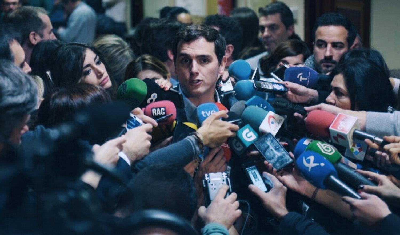 El Presidente de  Ciudadanos , Partido de la Ciudadanía, Albert Rivera entrevistado por la prensa. © Bernardo Díaz