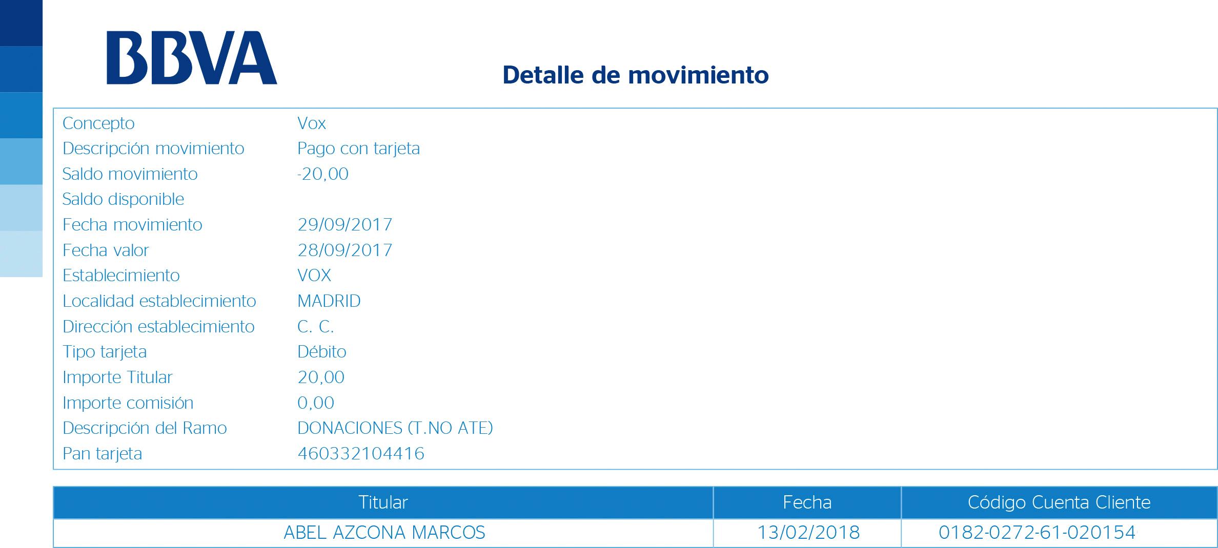 Donación / Cuota a VOX cobrada al afiliado Abel Azcona.