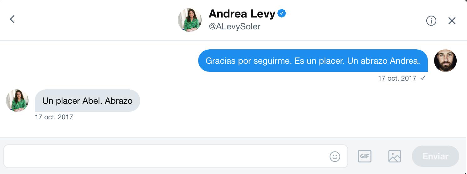 Intercambio de mensajes privados en la red social  Twitter entre el artista  Abel Azcona y  Andrea Levy , parlamentaria del  Partido Popula r en Cataluña. .