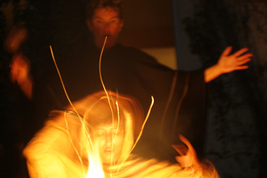 Shamanic fire ceremony led by Sarah Hawley MA Shamanic Counselor