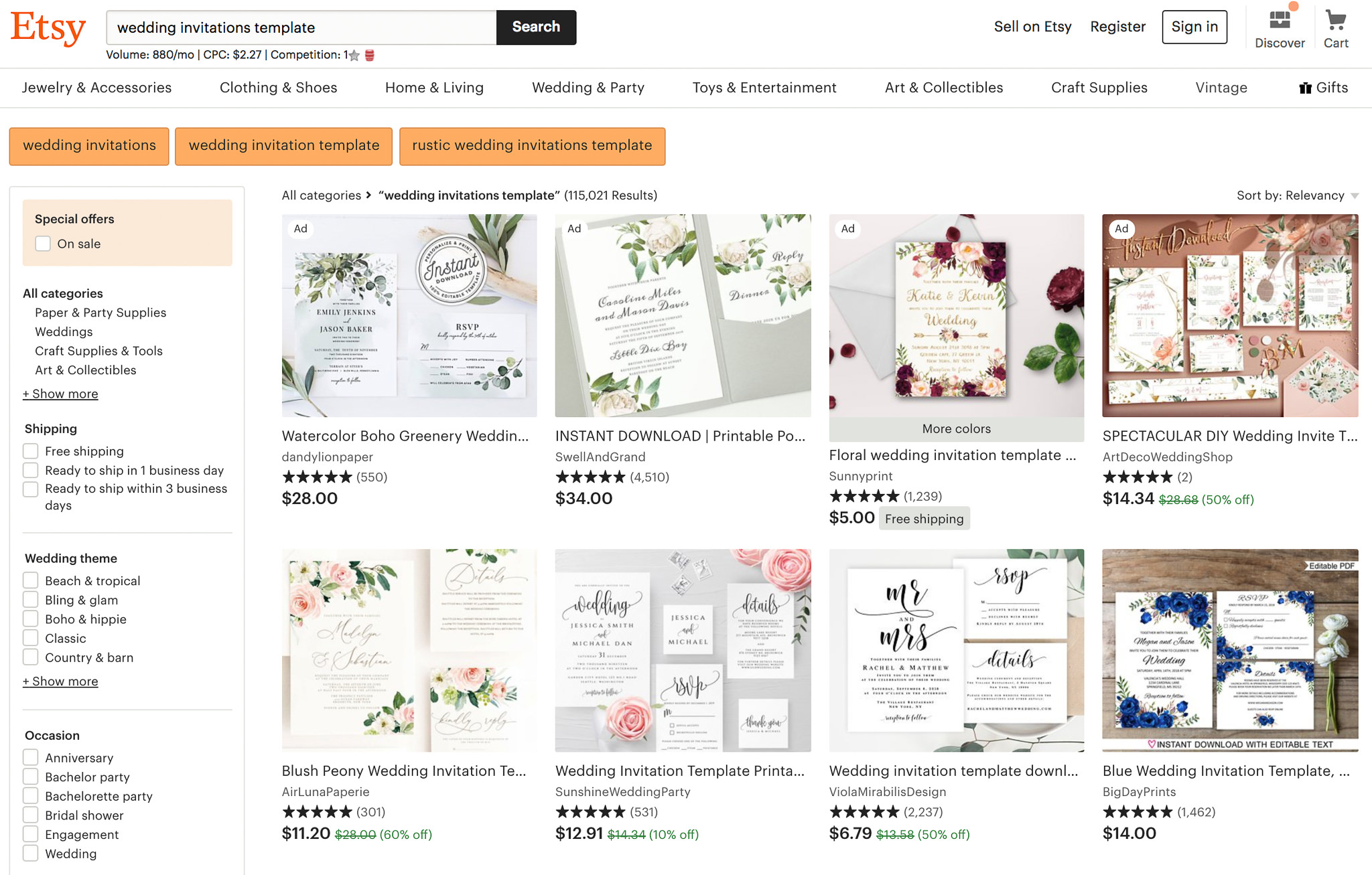 There are hundreds of options to choose from so finding an invitation template on Etsy shouldn't be too hard.