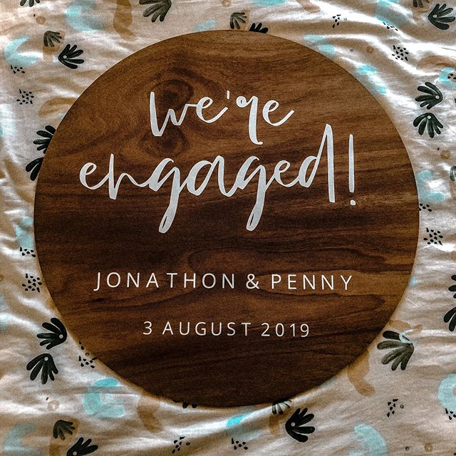 You are loving the round wooden signs! And I am sure I know why - look at how damn beautiful they are 🥰😍  Congrats to Jonathon and Penny on your engagement💍  #wereengaged #brisbaneengagement #engagementsign #engagementpartydecor #backyardengagement #weddinginspo #woodenwelcomesign  #welcomesign #modernsign #brisbanevents #weddingboard #sydneyevents #melbourneevents #eventdecor #eventstylist #eventinspo #weddinginspo #brisbanewedding #goldcoastwedding #perthwedding #sydneywedding #melbournewedding  #brisbanecreative #eventinspiration