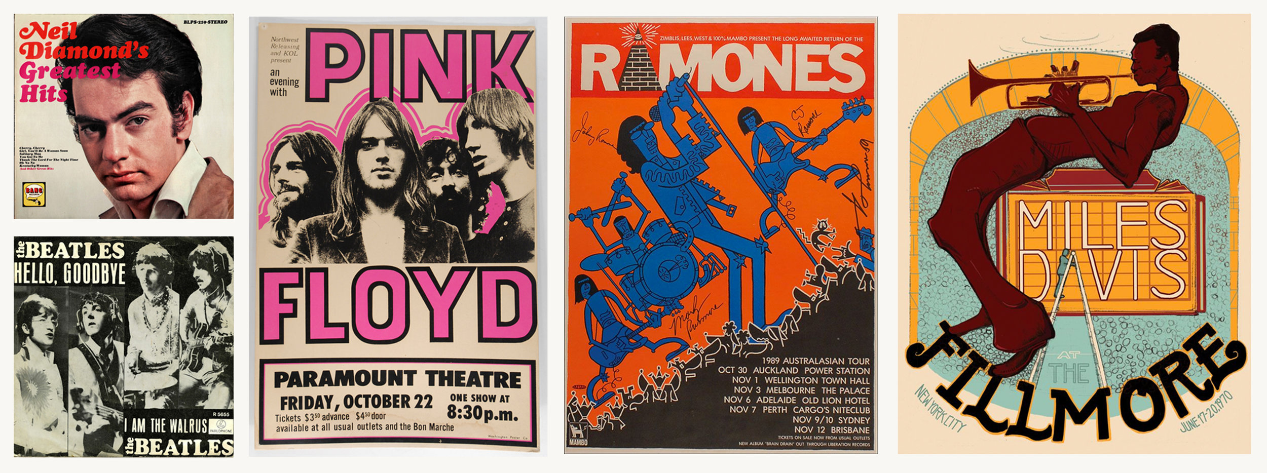 We took a lot of inspiration from 60's - 80's vinyl art and band posters. We were especially drawn to the bright block colours, fun typography and energetic feel.