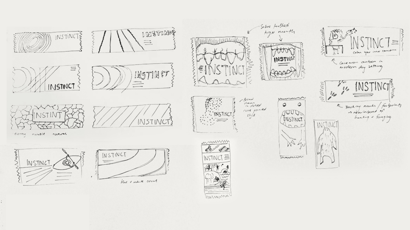 Early sketches of packaging concepts for this protein packed and energetic bar. We explored imagery such as abstracting sports fields, cavemen, and primal creatures.
