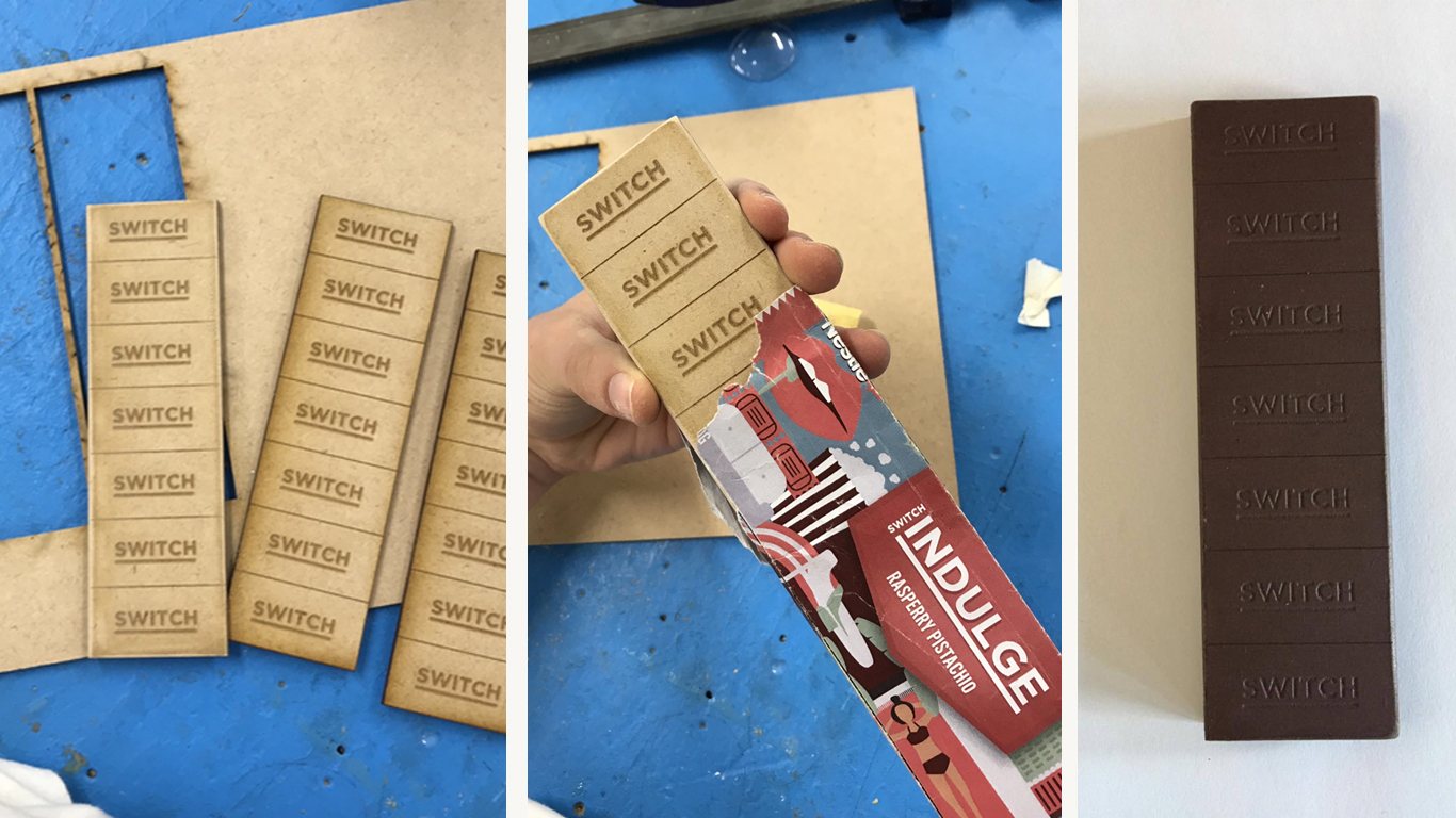 To prototype our final bars we laser cut wood to create the 'chocolate'. This allowed us to ensure the functionality of the packaging in its three-dimensional form.
