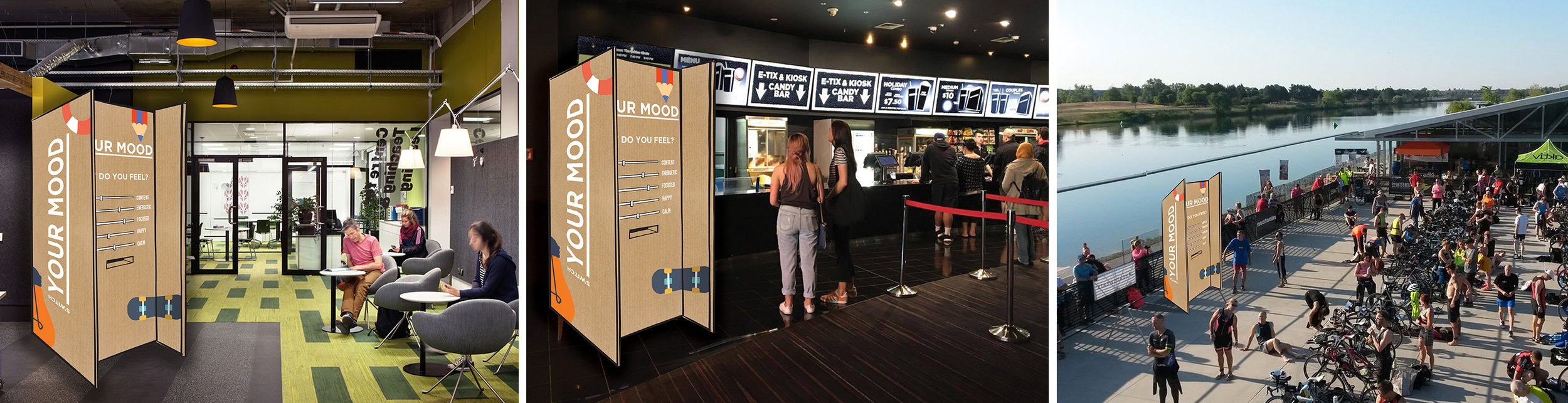The Switch Booth set up in locations such as a marathon to push the 'Energise' flavour, or the cinemas for the 'Indulge' flavour.