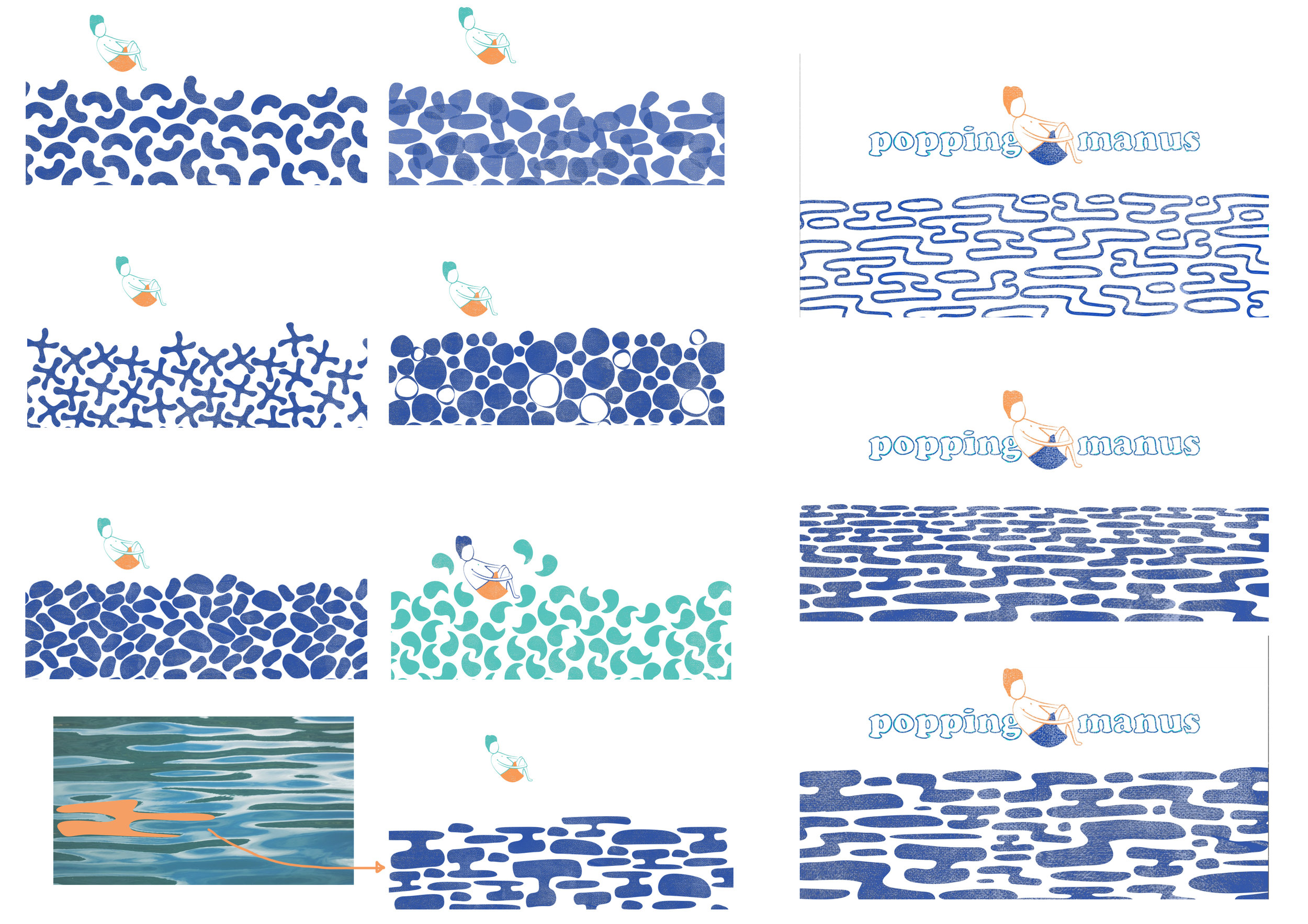 An issue we ran into was that our current water illustration resembled pills. This prompted an exploration of how else we could use simple shapes to represent water, we settled on an abstraction of the water's surface.