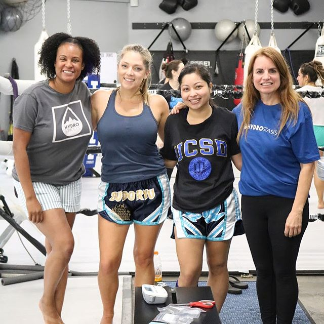 Super excited to be testing our sensors at our home gym. We're shaking out the logistics and preparing for our collegiate team pilots coming up soon. . Constantly learning and refining. Our ladies represented today! Super proud and grateful for this team. . #alwayslearning #hydrationmonitoring #hydration #logistics #girlsquad #muaythai #getready #trainwithme #steelmma #hydrated