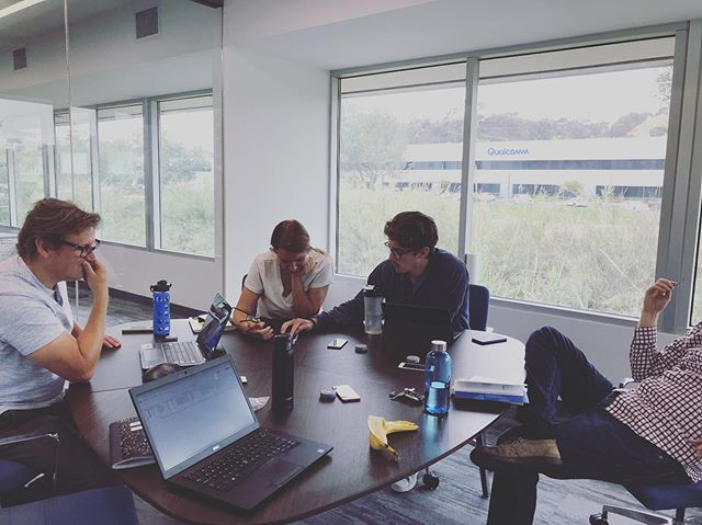 The gang hard at work. Troubleshooting some bugs. 🐜 🐛 🕷 New builds. New fixes. Same Grind. . #grind #startup #sandiego #wearable #athlete #coach #collegesports #preventativehealth #performance #safety #hydration #hydrostasis #hydrationmonitoring