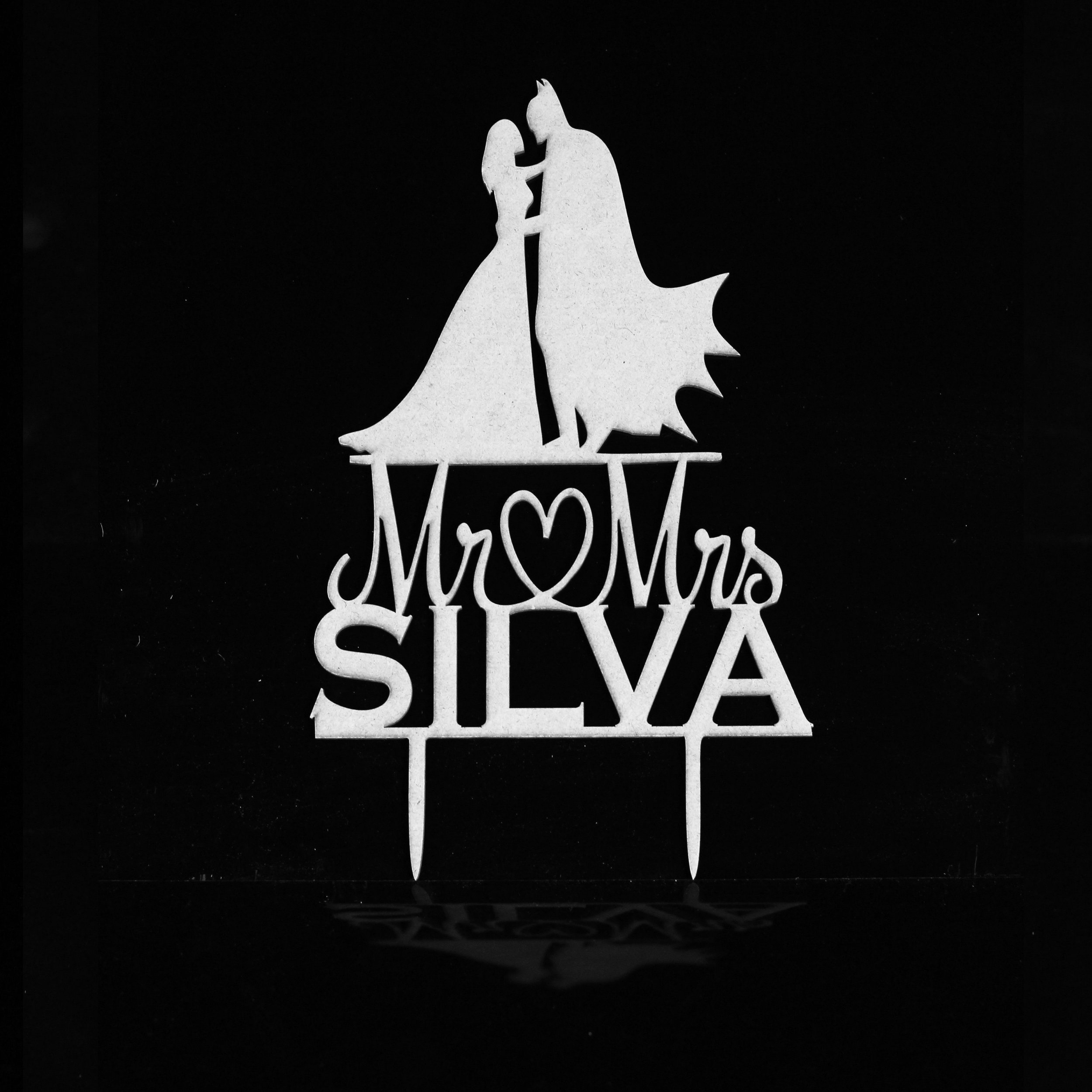 """Mr + mrs Silva"" Custom Batman Cake Topper"