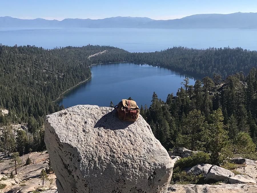 Falcon 2 on a rock near the Cascade lake