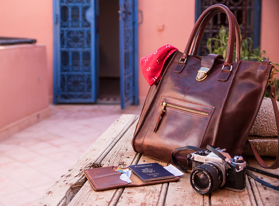 My daily grab-and-go items, loaded up my Karl with some camera stuff, and water bottle with some room left-over for trinkets and my passport with cash. The tote is perfect for Morocco, big enough to fill with treasures from the shops and markets, but tight against the body and secure enough to avert pickpockets. Photo Taken atop the rooftop terrace at my friends house in Marrakesh.