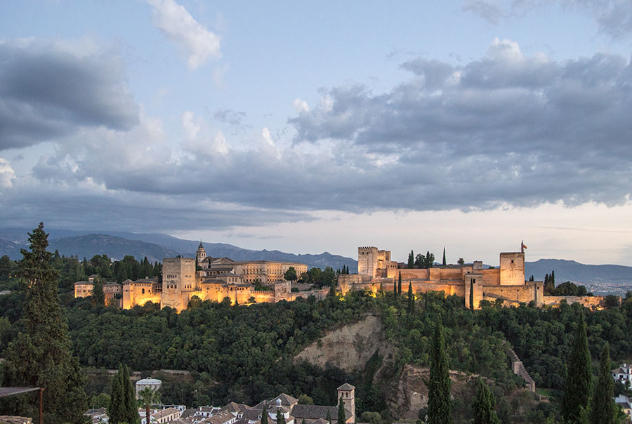 The Palace of Alhambra is one of the northern outposts of the Moorish Empire and the Moroccan-Arabic people that inhabited Andalusia, modern day Spain. The palace and fort include a blend of Classical Spanish and Moorish architecture, perched atop a hill at the base of the original Sierra Nevada mountains. The scale and size of the palace are absolutely marvelous from the prominent bluff, unobstructed vistas of Granada and the entire region.