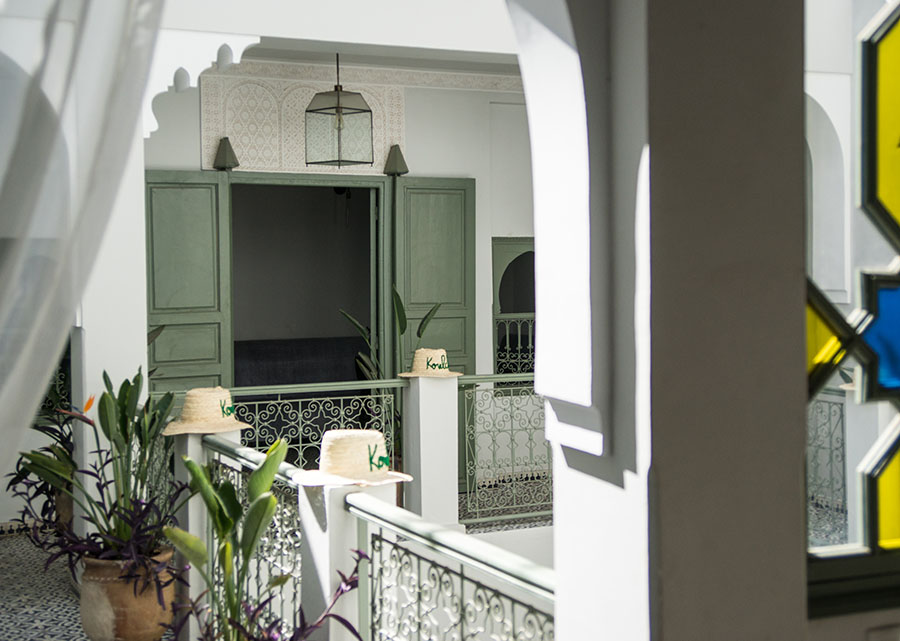 "My airbnb in Rabat. Very interesting layout for those interested in architecture. Each of the homes have the same basic elements to make up a house, or what they call a ""Riad"" (ree-odd) The first level is often sunken into the ground which helps keep the building cool during the heat and warm during the winter. The first floor is a gigantic open area made to accommodate the whole family for gatherings, so it's a lined with seats, the kitchen and usually a fountain in the middle that is opened to the sky. Then each level above is for a generation of the family where the oldest generation lives on the second floor, and the youngest lives on the top floor (usually 4 levels with a rooftop terrace) Seen here is that square layout on the third floor."