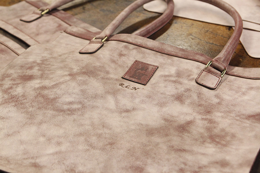 "The leather from Italy has come a lot lighter and when it met ""Sandasting"", her beautiful color emerged."