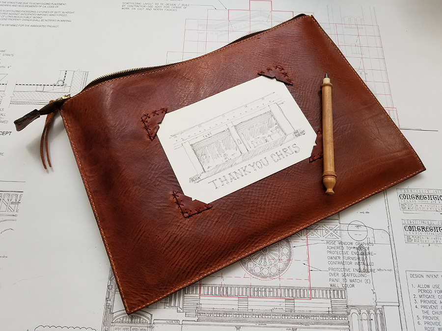 Custom Sleeve - Bob is an architect & artist who loves to sketch. He wanted a sleeve that will fit his laptop, sketch book, and most importantly, Bob wanted his sleeve to function as a board to sketch on… So we got little creative.