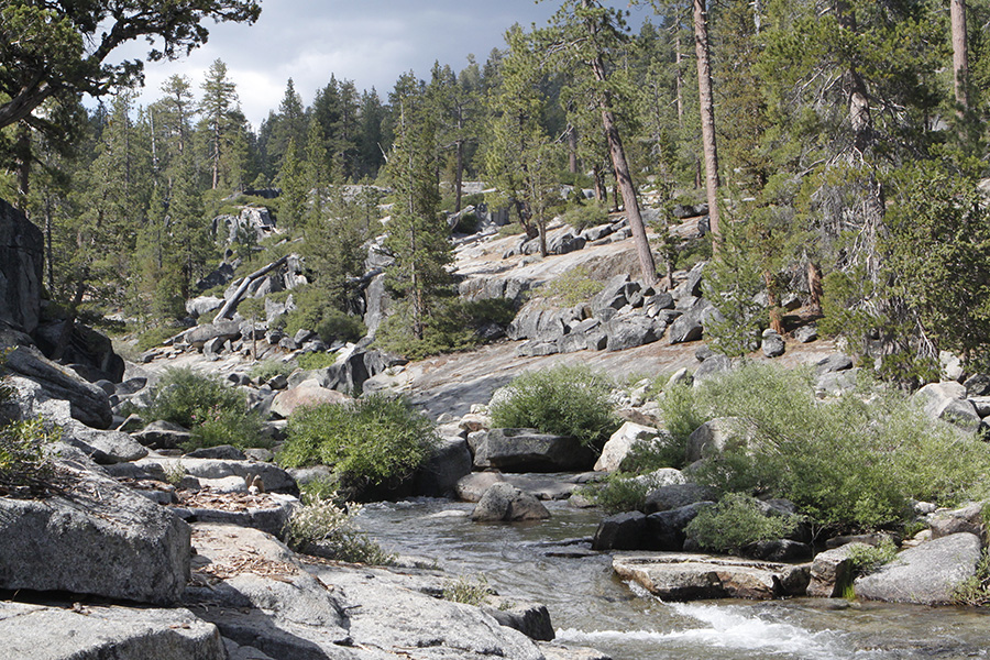 Running stream on top of Yosemite Fall to Yosemite Peak