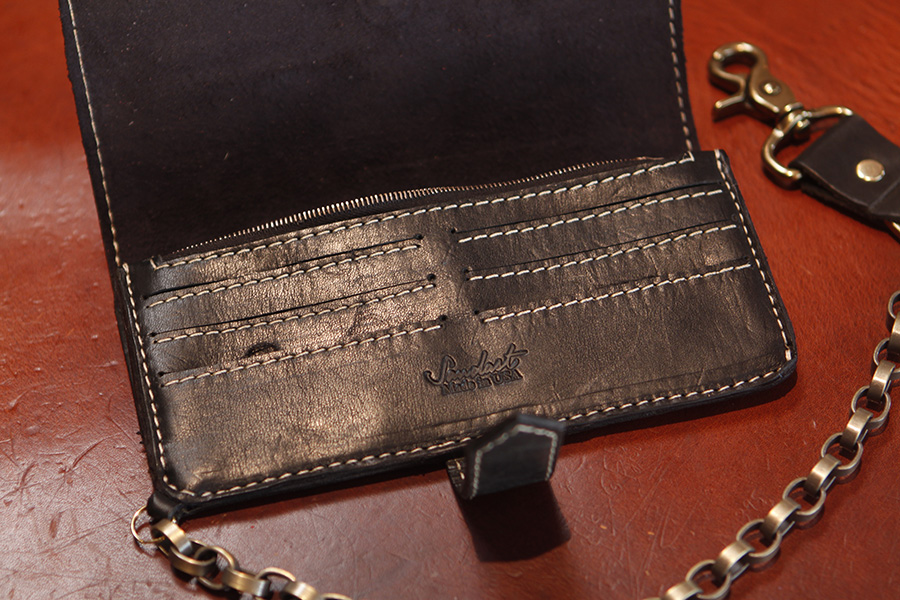 White Contrast Stitch on American Black leather