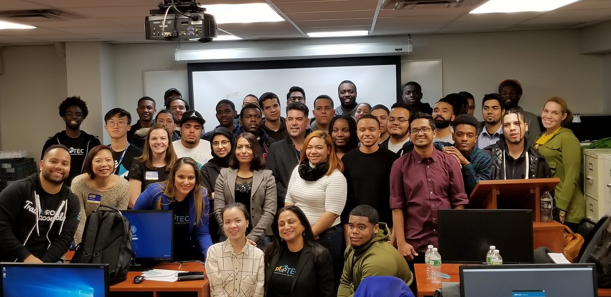PepUp Tech Boot Camp, Monroe College, New York. NiM's Shakil Kamran (front Row Left) and Saray Rosales (front row third from left, in Blue) are PepUp Tech Alumni, who volunteered at the recent PepUp Tech Bootcamp.