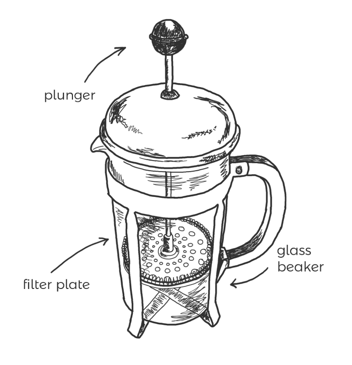 French Press Line Drawing