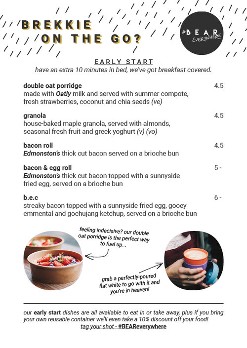 BEAR Takeaway Breakfast Menu