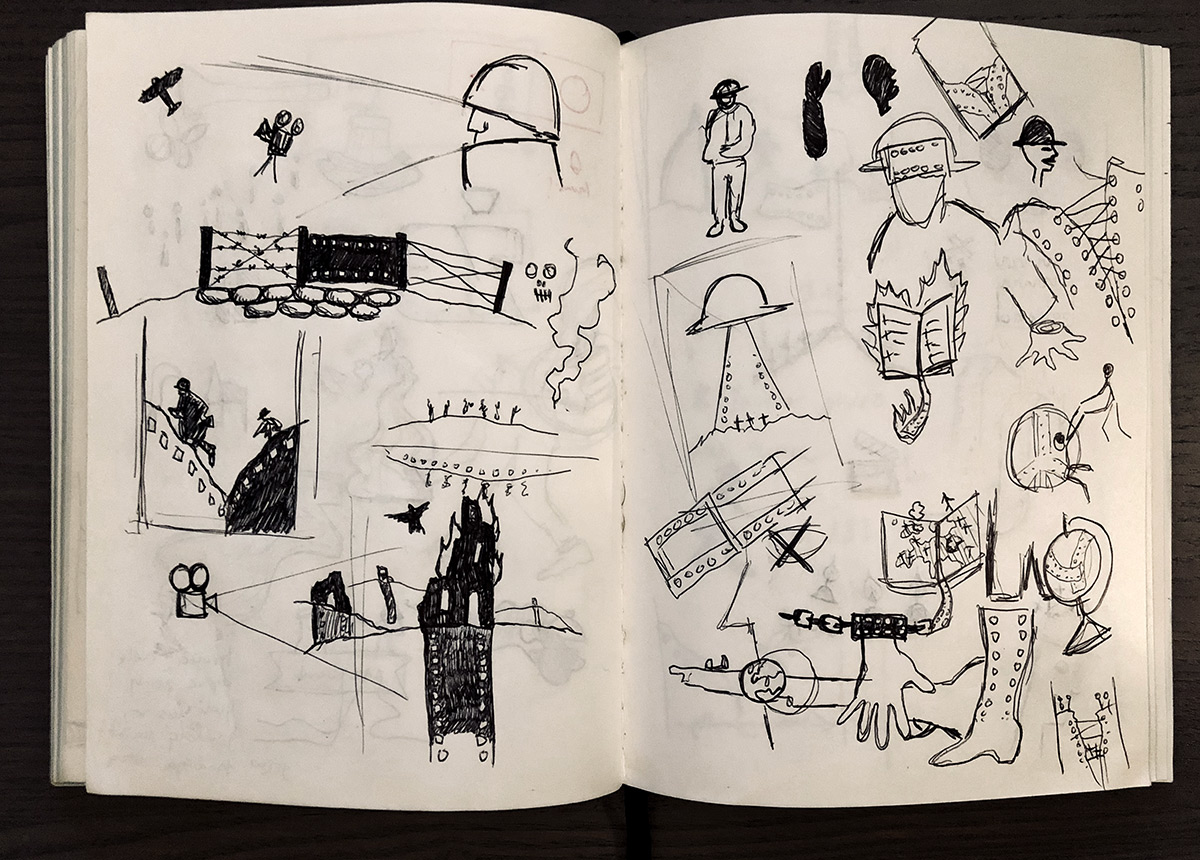A spread from my sketchbook shows the early phase of exploring random ideas. This is for my eyes only…
